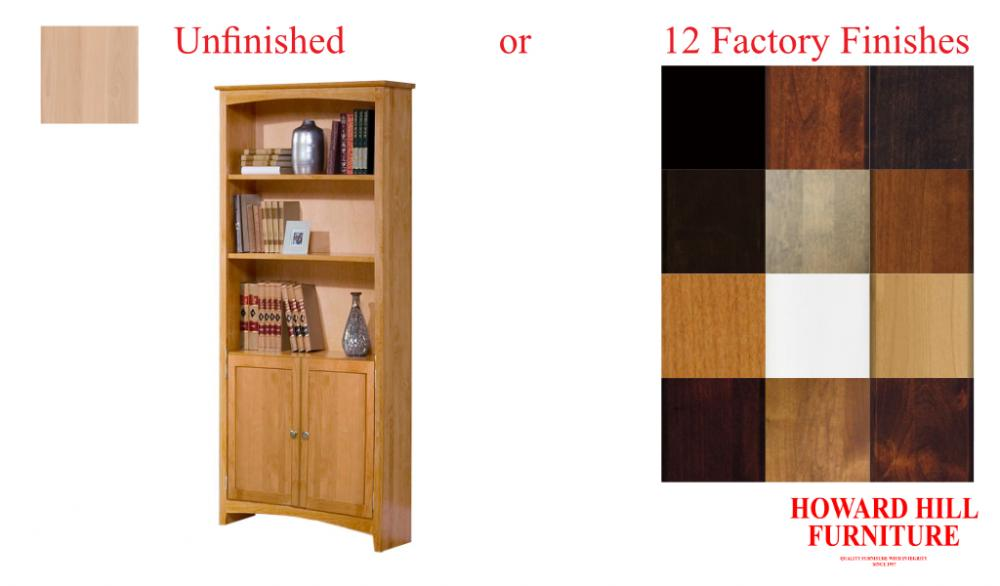 Alder Shaker 30 Inch wide Bookcases w/Doors | Howard Hill Furniture