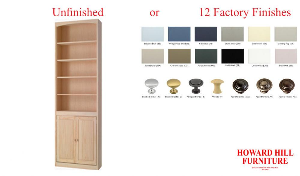 Pine 30 Inch Bookcase with Doors | Howard Hill Furniture