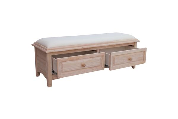 Bedside Bench W Upholstered Seat And 2 Drawers Howard